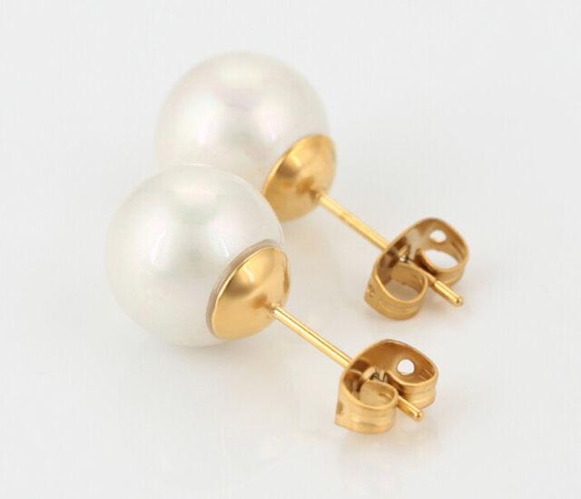 Luxus Perlen Ohrstecker Ohrringe mit Swarovski® Perlen 999er Gold 24K vergoldet