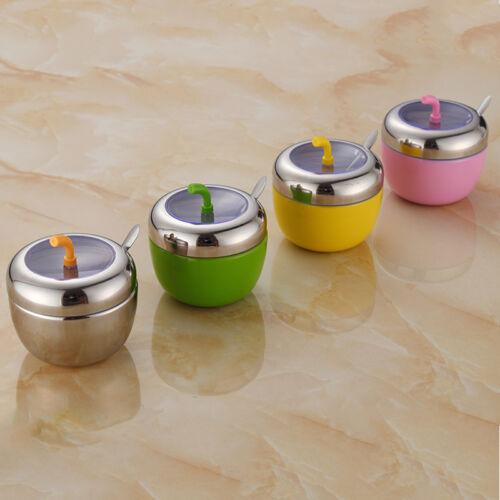 Kitchen Stainless Steel Seasoning Spice Jar Sugar Salt Bowl with Lid /& Spoon Set