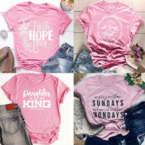 Christian-T-shirt-Faith-Prayer-Jesus-Women-Tee-Printing-Tops-Christmas-Present
