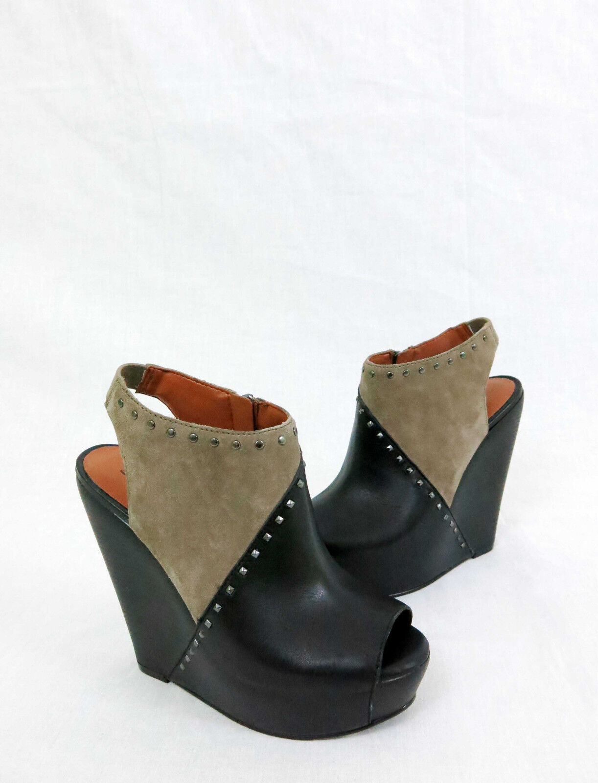LUCKY BRAND Ramona Wedge Sandals Leather Leather Leather Suede Studs Black Brindle 8.5 e6a3b5