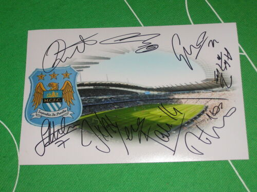 Manchester City Stadium Photograph Signed by the 201314 Squad 9 Autographs!