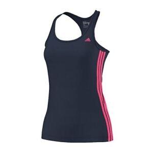 Adidas-Deporte-Essentials-Azul-Marino-Rosa-Mujer-Camiseta-de-tirantes-s20924