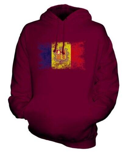 Andorra Distressed Flagge Unisex Kapuzenpulli Top Andorranisches Football Trikot