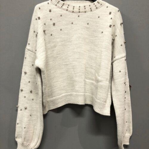 Maglione maglia donna pullover golfino corto invernale perle manica lunga 10850