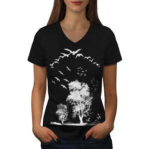 Wellcoda-Bird-Freedom-Fly-Womens-V-Neck-T-shirt-Nature-Graphic-Design-Tee