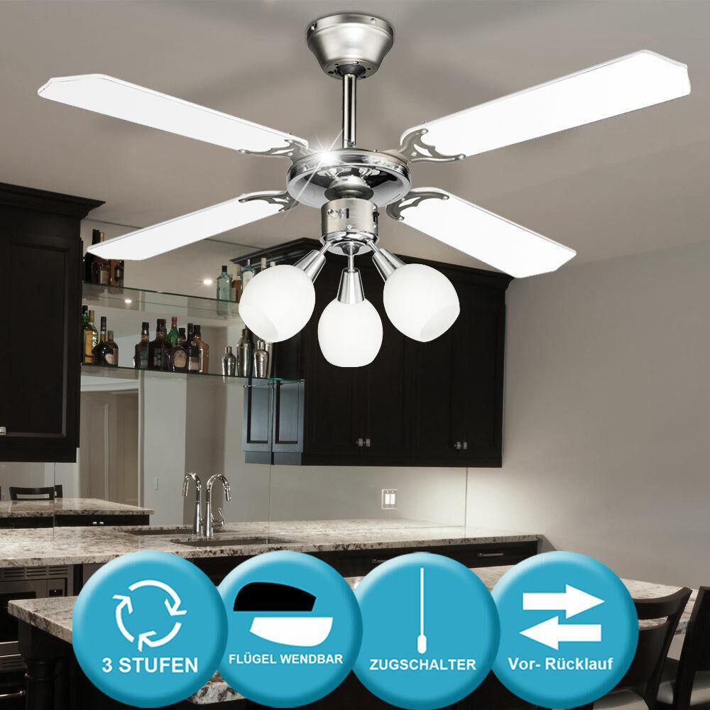 Ventilador lámpara cubierta comedor lámpara puntos de coste de calefacción living XXL