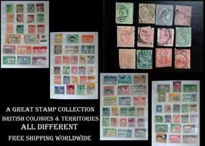 Stamp Collection British Colonies Queensland Jamaica Victoria NZ Mauritius India