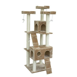 Deluxe-71-034-Cat-Tree-2-Condo-Scratching-Post-Pet-House-Furniture-Four-Tier-Beige