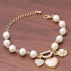 Damen Armband D Brief Armkette Gold Herz Perlen Strass Armband Vintage Schmuck