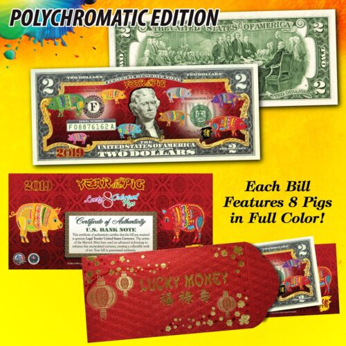 2019 CNY Lunar Chinese New YEAR OF THE PIG Polychromatic 8 Pigs $2 U.S Bill RED