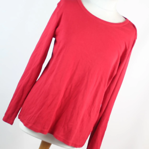Marks-amp-Spencer-Womens-Size-18-Red-Plain-Cotton-Basic-Tee