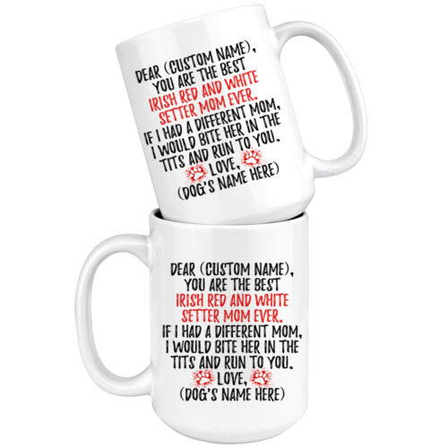 Details about  /Personalized Red and White Setter Dog Mom Mug Irish R/&W Setter Owner Women Gift