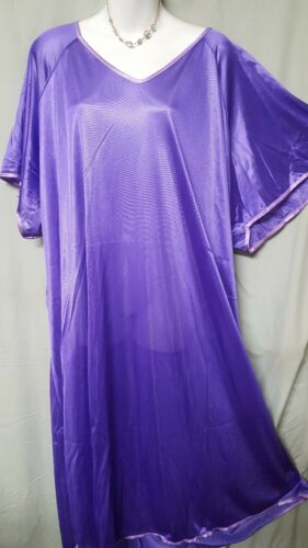 """Woman Within Purple Nightgown Long short Sleeve Plus Size 6X 80/"""" BUST B3G1 FREE"""