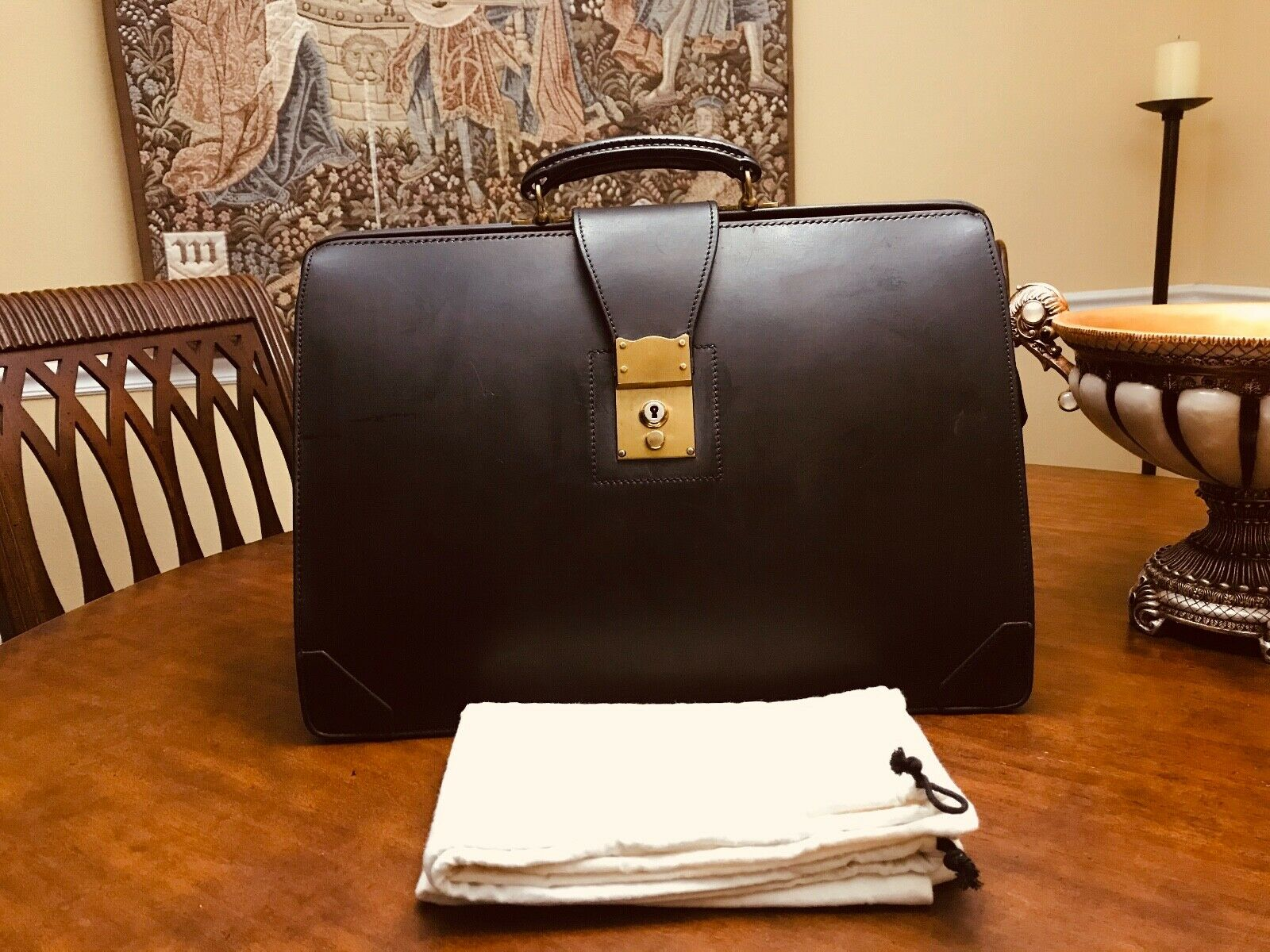 SWAINE ADENEY Bridle Leather Attorney / Doctor Briefcase - Made In England 1