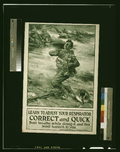 World War I,WWI,Learn to Adjust your Respirator,Gas Warfare,Gas Mask,1915