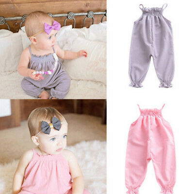 Infant Kids Baby Boys Girl Overall Harem Straps Romper Playsuit Bodysuit Outfits