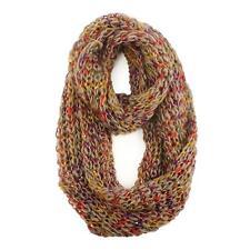 Ladies Winter Lurex Chunky Knit Loop Cowl Infinity Scarf Shawl Ski Rainbow Taupe