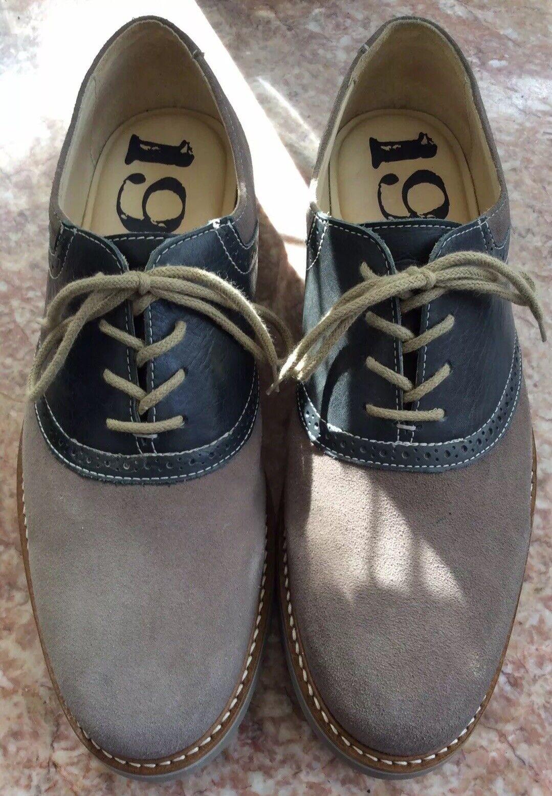 1901 Lace Oxfords Grey Navy Suede Leather shoes Men's US Size 10.5 M  M23109 EUC