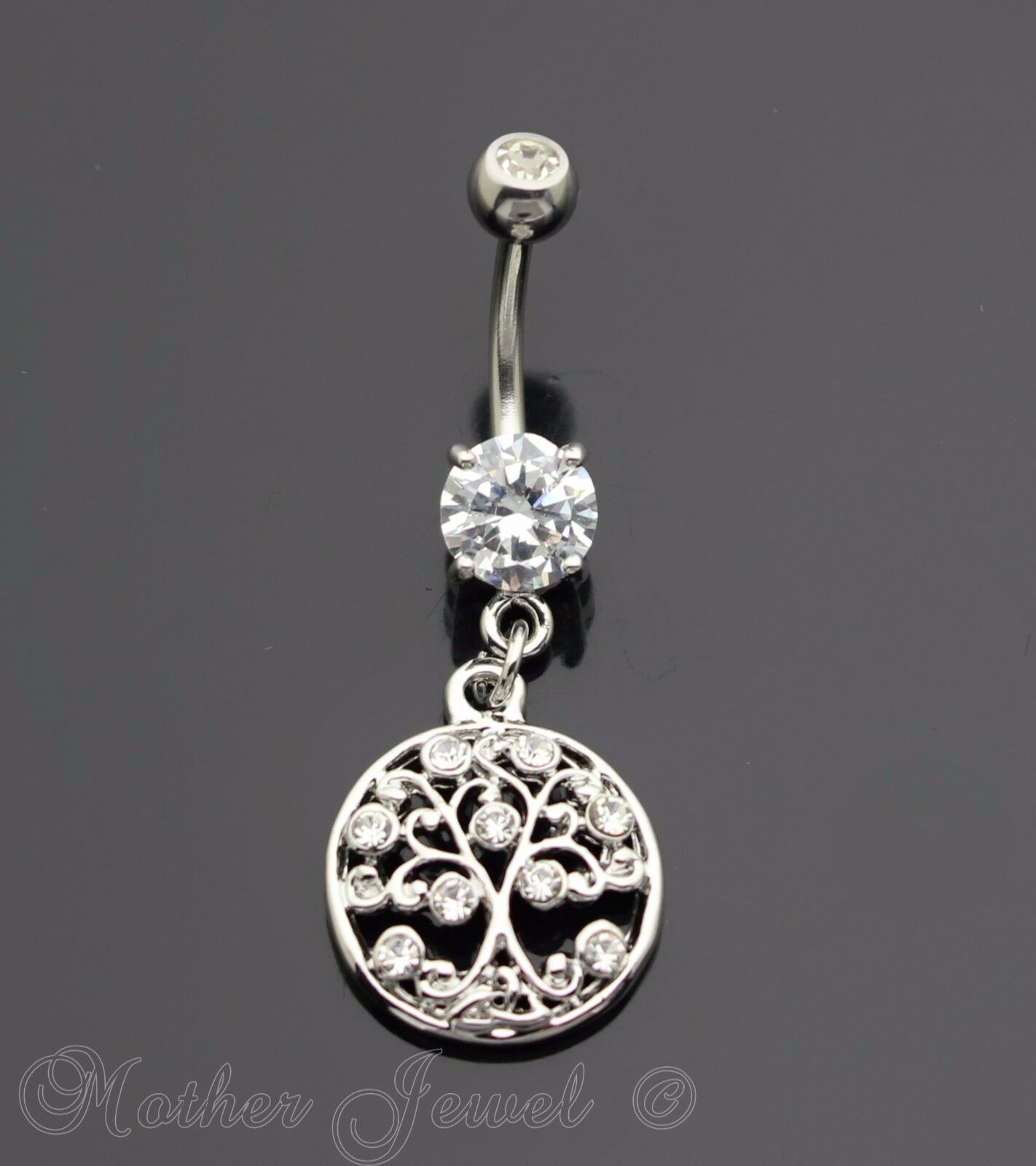 TREE OF LIFE DANGLY BELLY NAVEL PIERCING BAR Surgical Steel With Clear Jewel