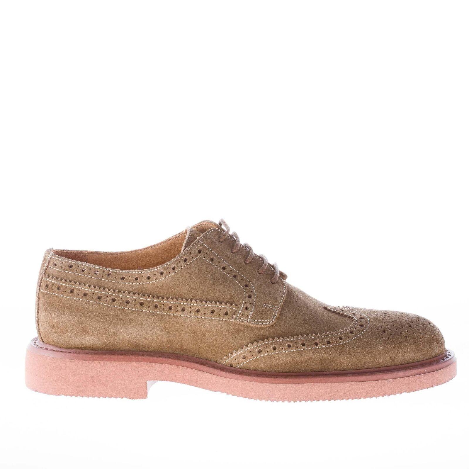 STRIKE FIRENZE men shoes brown suede lace derby wingtip brogue lightweight sole