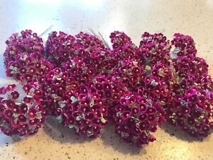 Vtg-Millinery-Flower-Forget-Me-Not-24-bunch-LOT-Rosy-Pink-Doll-Size-Craft-RP6