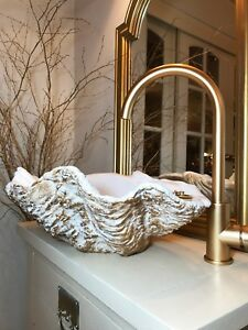 Details About Sculptured Stone Clam Shell Sink In Bronze Fleck Trade Counter Xmas Gift Shop