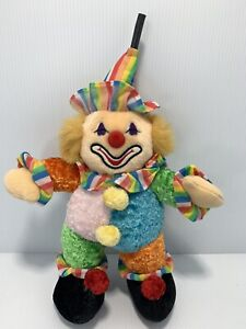"""Vintage 16"""" Plush MUSICAL Clown With spinning top WORKS"""