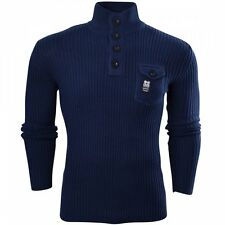 a4858f565f621 Crosshatch Mens Funnel Neck Ribbed Jumper Knitwear Button Up Pullover Top
