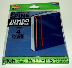 IT-039-S-ACADEMIC-See-Through-Spine-JUMBO-Book-Cover-With-4-Page-Holders-BLUE-NIP