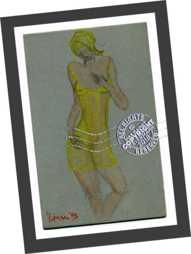 Woman Two semi nude n yellow = Signed ART PRINT = Cathy Peterson = LISTED ARTIST