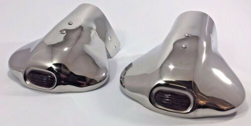 Pair 2 Universal Stainless Steel Red Jeweled Steel Exhaust Tips Hot Rod Dual