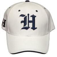 Old English Letter Hat h Adjustable Back 3d Embroidered Cap White