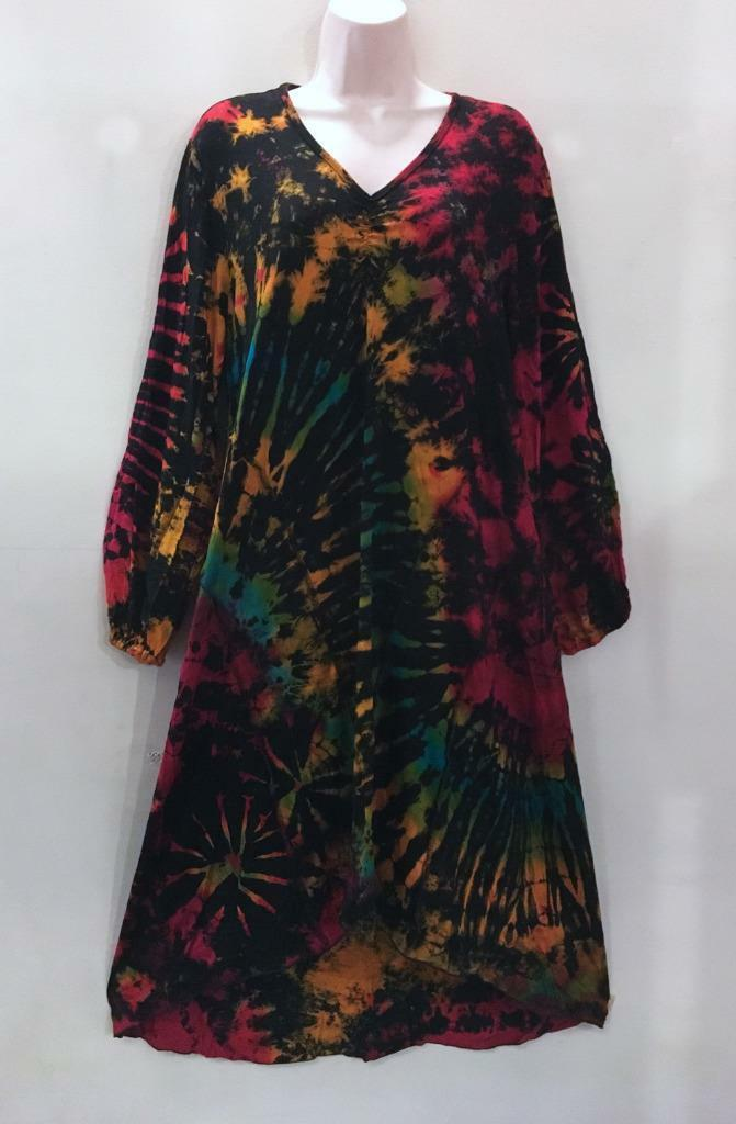 1a71aa6f90 Hippie Bohemian Festival Stretch Thai Mudmee Hi Lo Tie Dye Bias Dress  218911 F oczvmc6055-Dresses