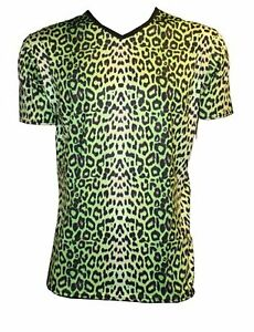 MEN-039-S-GREEN-LEOPARD-ANIMAL-PRINT-T-SHIRT-TOP-FANCY-DRESS-COSTUME-GOTH-PUNK-EMO