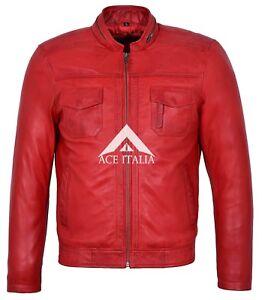 Biker Style Bomber Motorcycle Court Rouge Homme Artilleur wqvpBB