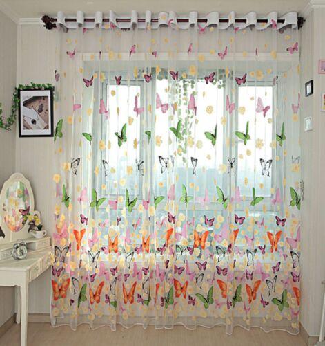Butterfly Flower Print Sheer Curtain Customise Window Home Diy Children Kids