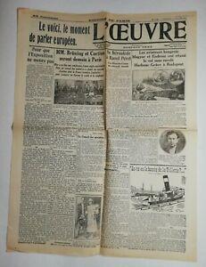 N725-La-Une-Du-Journal-L-039-uvre-17-juillet-1931-aviateurs-hongrois-Magyar-endresz