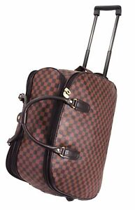 Womans-ladies-Wheeled-Holdall-weekend-luggage-travel-Cabin-overnight-Trolley-UK
