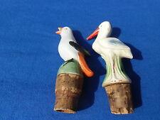 2 alte Porzellan Flaschenausgießer in Vogelform, um 1930, selten, Top