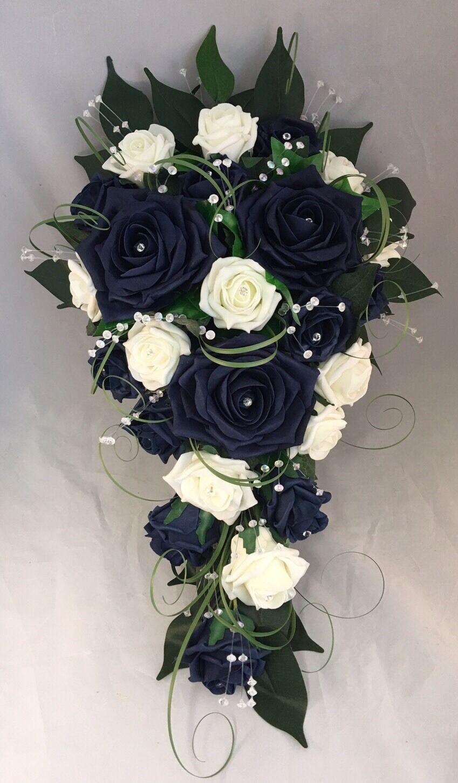 Fleurs Artificielles Ivoire Bleu Marine Rose Mariée Mariage Douche Larme Bouquet Cristal