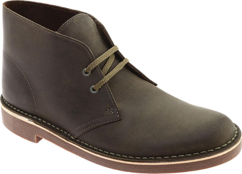 Zapatos De Cuero nuevo Para Hombres Clarks Bushacre 2 verde Oliva Oscuro Chukka botas Auténtico