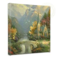 Thomas Kinkade Wrap - The Mountain Chapel - 14 X 14 Gallery Wrapped Canvas