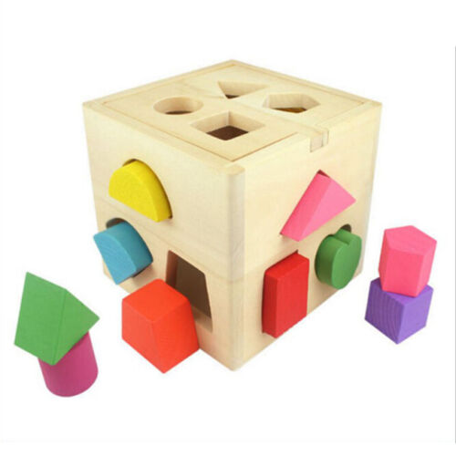 Wooden Sorter Cube Shape Geometry Stacking Game For Kids Baby Toy Gift LH