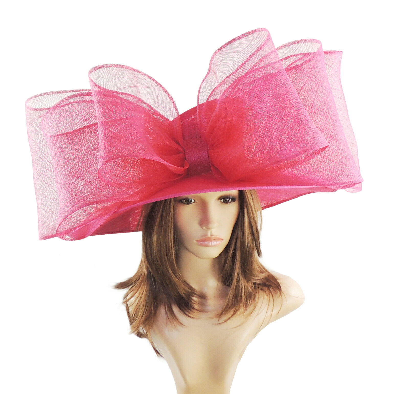 Fuchsia Pink Large Ascot Hat for Weddings, Ascot, Derby HBB