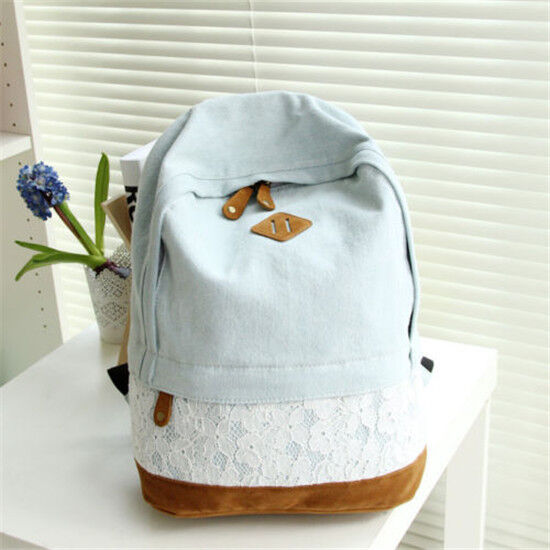 Girls Women's Denim Satchel Backpack Rucksack Shoulder School Bag Bookbags Bags