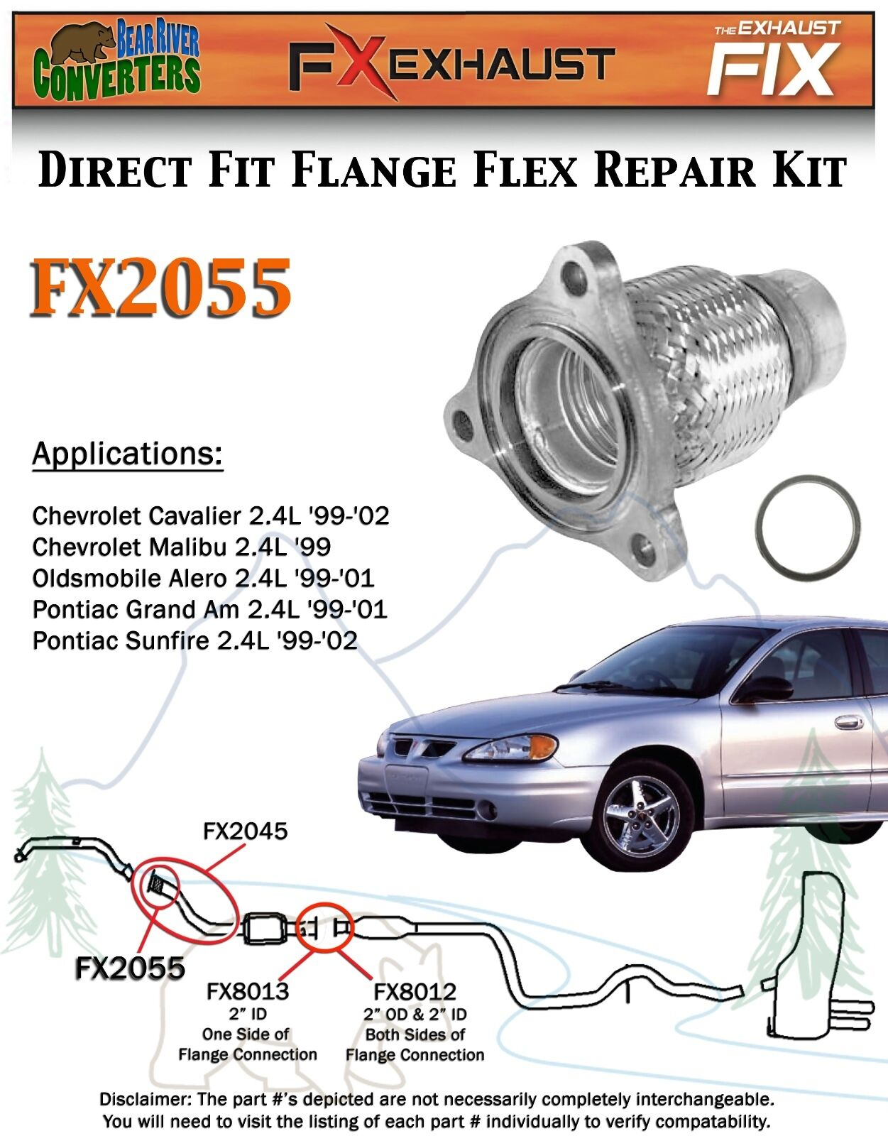 FX2055 Semi Direct Fit Exhaust Flange Repair Flex Pipe Replacement Kit w/  Gasket | eBay