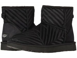 meilleur service 1e40b 146aa Details about NEW WOMEN 2019 UGG CLASSIC MINI BOOTS QUILTED SATIN BLACK  AUTHENTIC 1098351