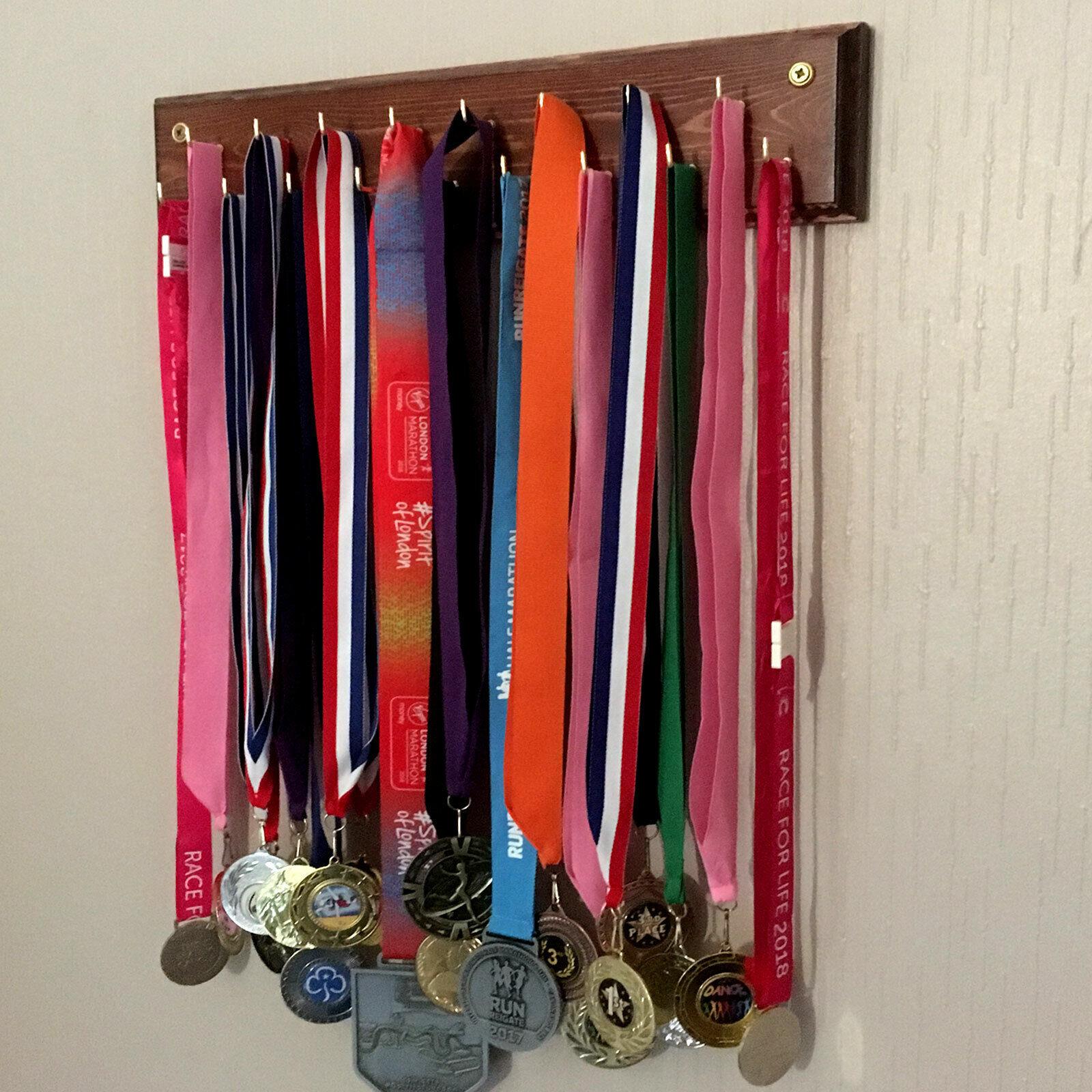 Medal Hangers, 2 Rows of Hooks, Wooden Medal Hanger, 3 Sizes, Stylish Ogee Edge