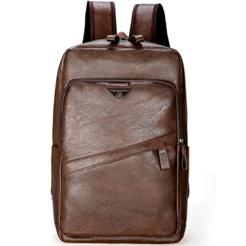 Mens Vintage Leather School Bag College Backpack Satchel Travel Casual Rucksack