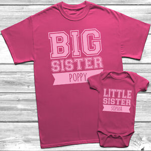 Personalised Big Sister Little Sister T Shirt Kids Baby Grow Sisters Outfits Ebay